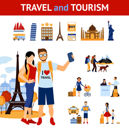 people traveling: Travel and tourism infographic elements set with landmarks and images of traveling people flat isolated vector illustration