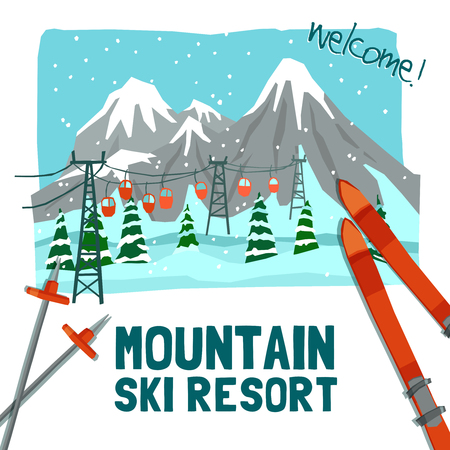 resort: Winter landscape advertising color poster presenting ski resort with ice peaks pines and cableway vector illustration