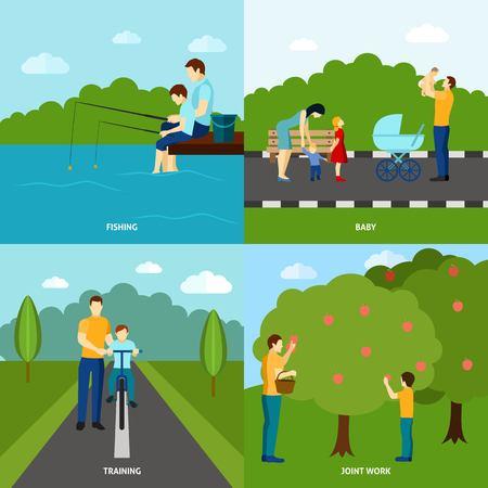 madre e hijo: Cuatro carteles de color planas paternidad establecidos con el padre y sus hijos ilustración vectorial
