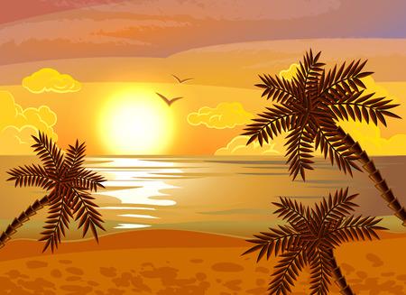 夕方の海の景色とトロピカル ビーチ サンセット エキゾチックな夏休暇ポスター手の平をフラット抽象的なベクトル図