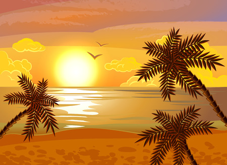 anochecer: Puesta del sol tropical playa poster vacaciones de verano exóticas con vistas al mar por la noche y las palmas ilustración vectorial abstracto plana
