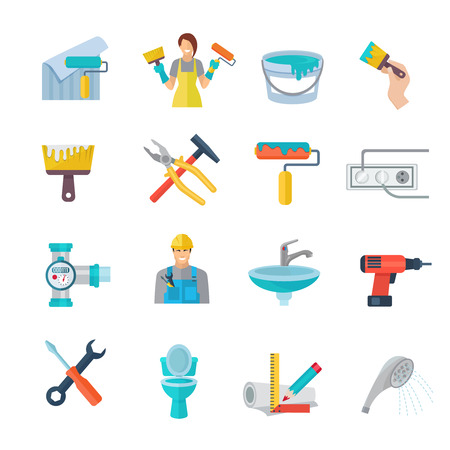 Home repair icons flat set with working instruments isolated vector illustration Illustration