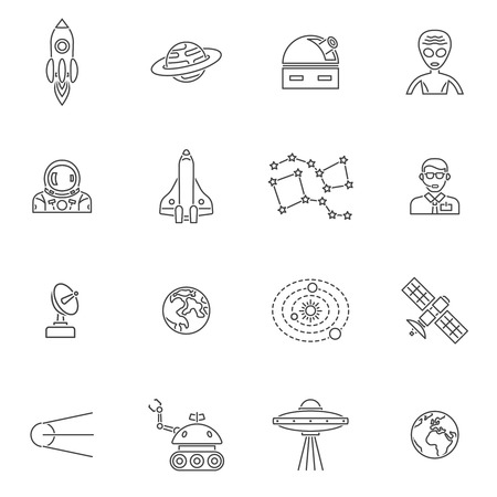 space station: Space icon outline set with rocket launch and lunar station isolated vector illustration