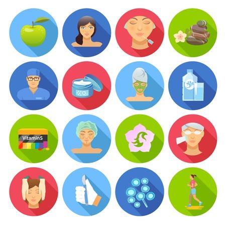 tratamiento facial: Iconos planos Rejuvenecimiento establecen con la cirugía y cuidado de la piel de plástico símbolos aislados ilustración vectorial