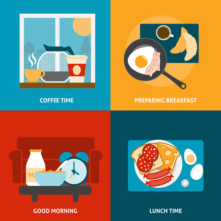 colazione: Colazione, pranzo e tempo caff� set di icone con preparazione di un pasto piatta illustrazione vettoriale isolato Vettoriali