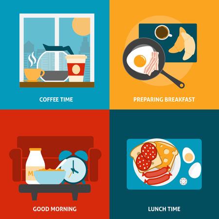 breakfast: Iconos desayuno almuerzo y la hora del café se establece con la preparación de una comida plana aislado ilustración vectorial