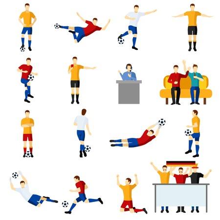 jugadores de futbol: los jugadores del equipo del juego de fútbol iconos planos establecen con Portero y delantero en la acción aislada abstracta ilustración vectorial Vectores