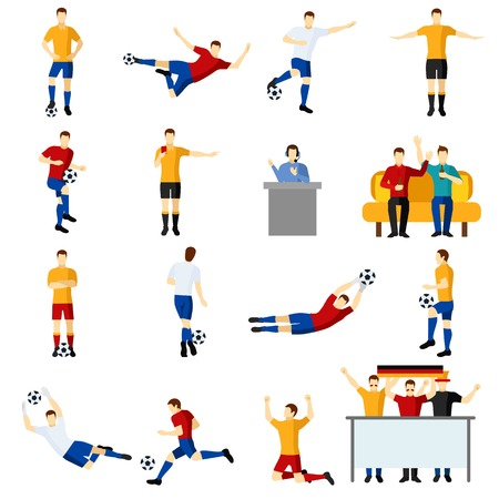 soccer team: Soccer game team players flat icons set with goalkeeper and forward in action abstract isolated vector illustration