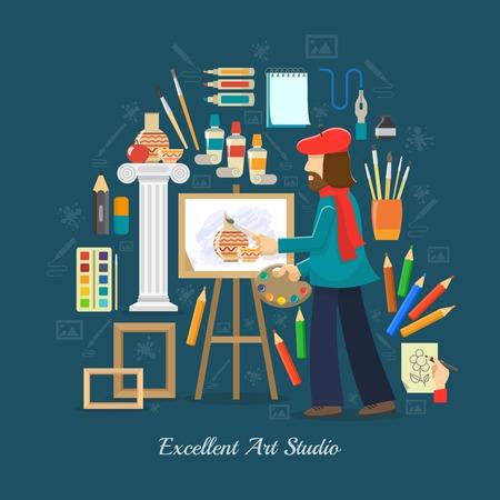 palet: Concepto de estudio del artista con las herramientas de pintura plana y s�mbolos pintor ilustraci�n vectorial