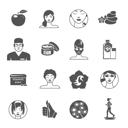 Rejuvenation body and skin care black icons set isolated vector illustration 向量圖像