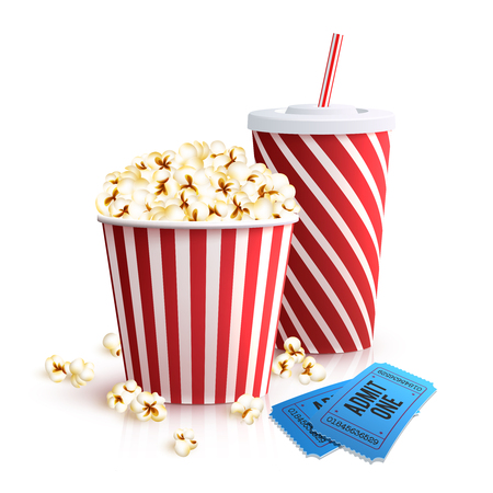3d film: Cinema set with cola glass popcorn bucket and tickets realistic vector illustration