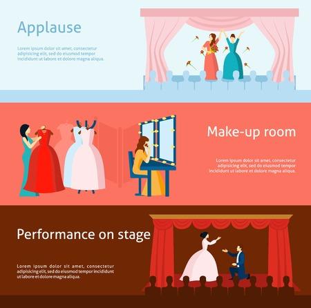teatro: Aplauso de la audiencia despu�s plana Colecci�n de las banderas horizontales rendimiento y teatro backstage vestidor abstracto aislado ilustraci�n vectorial