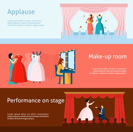 performance art: Audience applause after performance and theater backstage dressing room flat horizontal banners collection abstract isolated vector illustration