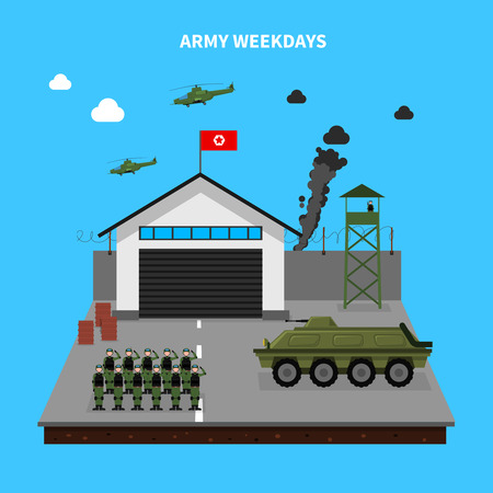 tanque de guerra: Los días laborables del Ejército con símbolos de entrenamiento y armas en fondo azul ilustración vectorial plana