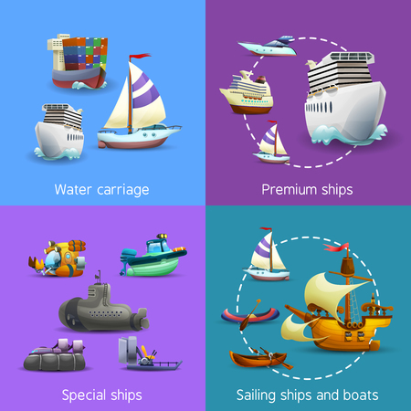 Water transport realistic icons set with water carriage premium special and sailing ships isolated vector illustration Vetores