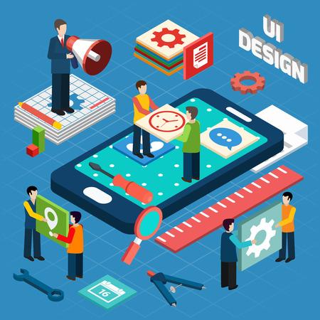 empresas: Ingeniería de interfaz de usuario para aparatos electrónicos y móviles concepto dispositivos pictogramas composición diseño isométrico ilustración vectorial abstracto