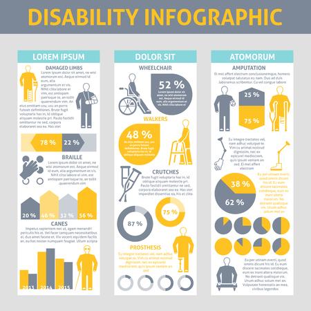 personas discapacitadas: Las personas con discapacidades Infograf�a conjunto con muletas y pr�tesis braille s�mbolos ilustraci�n vectorial plana