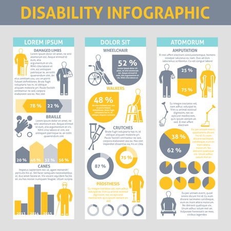 disabled sign: People with disabilities Infographic set with crutches prosthesis and braille symbols flat vector illustration