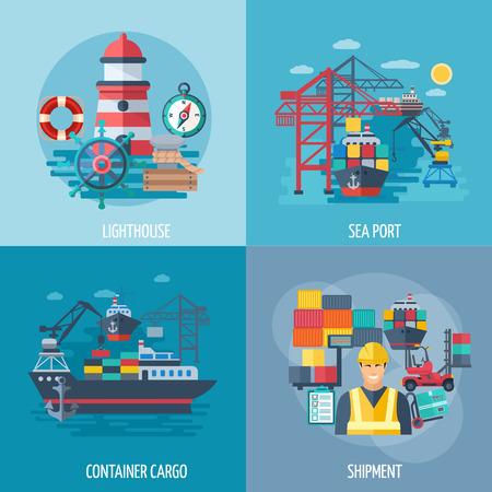 Mar concepto de diseño de puerto configurado con la carga de contenedores y transporte iconos planos aislados ilustración vectorial