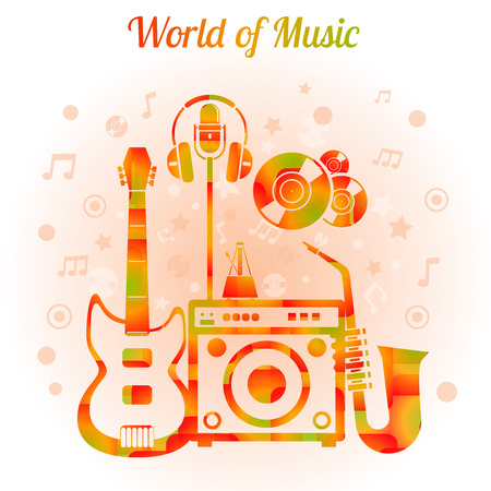 World of music color concept with guitar amplifier saxophone headphones mic and metronome vector illustration