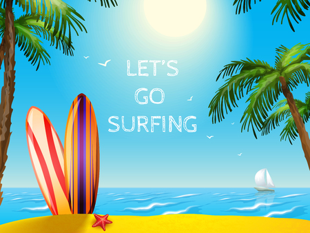 여름 휴가 여행 포스터 서핑 보드는 바다와 요트 배경 벡터 일러스트 레이 션 불가사리 일러스트