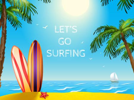 Verano tablas de surf Cartel del viaje de vacaciones estrellas de mar paisaje marino y el yate de fondo ilustración vectorial