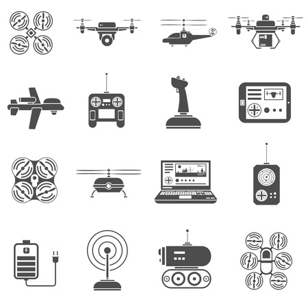 using tablet: Flying and caterpillar drones black white icons set with radio control flat isolated vector illustration Illustration