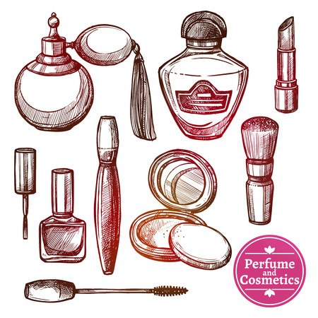 painted face: Perfume and cosmetics various elements and accessories set performed in hand drawn style isolated vector illustration