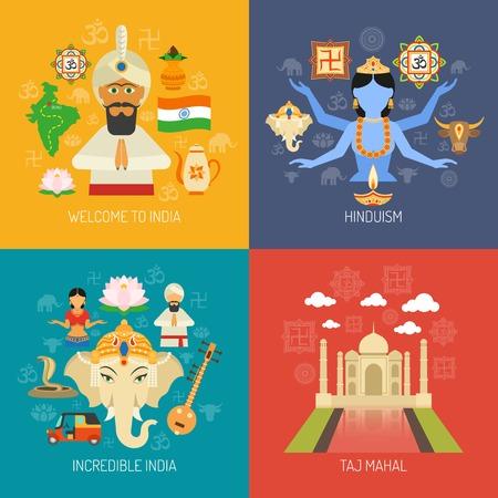 Het ontwerpconcept van India met de vlakke pictogrammen van de Hindoeïsmegodsdienst wordt geplaatst isoleerde vectorillustratie die
