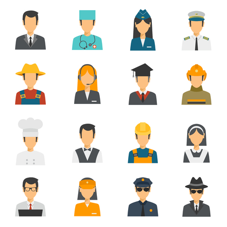 teamwork cartoon: Flat avatar profession set with stewardess labor worker police officer isolated vector illustration