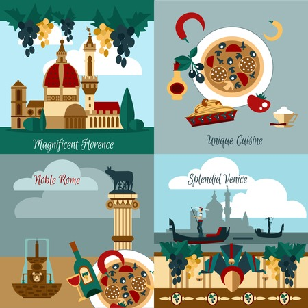 web design bridge: Italy touristic design concept set with italian towns flat icons isolated vector illustration