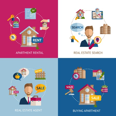 rental: Real estate design concept set with apartment rental flat icons isolated vector illustration