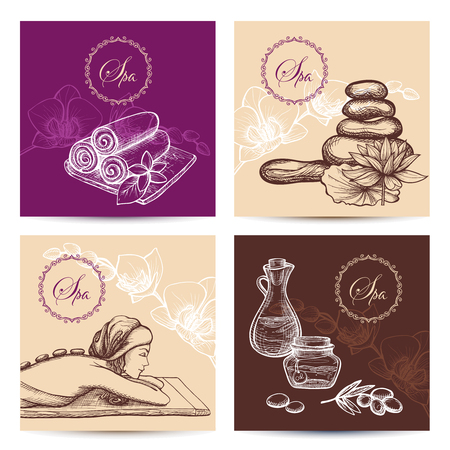 spa relax: Spa cards set with hand drawn woman silhouette stones and aroma oils isolated vector illustration