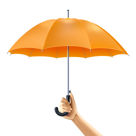 hand holding: Human hand holding open yellow umbrella realistic vector illustration