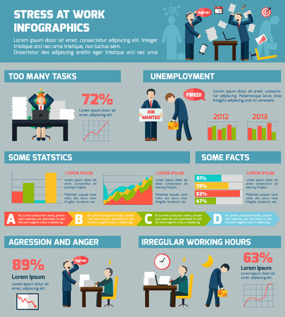Work related stress and depression worldwide mental healthcare statistic charts presentation infographic report poster abstract vector illustration