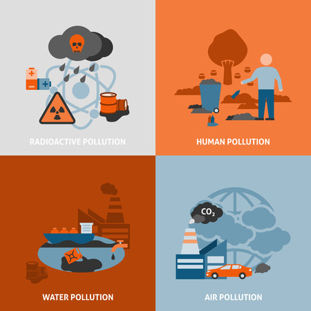 carbon pollution: Environmental problems icons set with radioactive human water and air pollution symbols flat isolated vector illustration