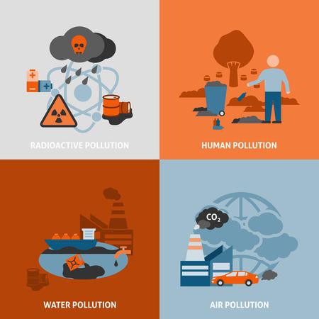 kwaśne deszcze: Problemy środowiskowe zestaw ikon z radioaktywne zanieczyszczenia wody i powietrza symbole ludzkich płaskie pojedyncze ilustracji wektorowych Ilustracja