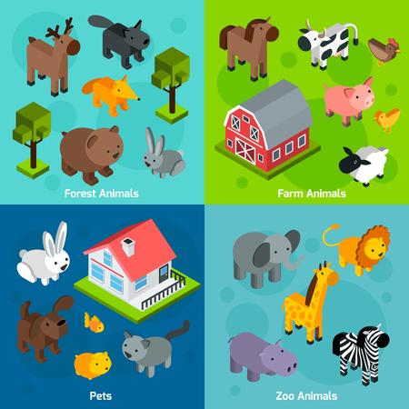 animals: Állatok tervezési koncepció szett izometrikus erdei tanya és állatkerti állatok és háziállatok elszigetelt vektoros illusztráció