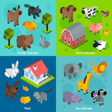 pets: Animals design concept set with isometric forest farm and zoo animals and pets isolated vector illustration