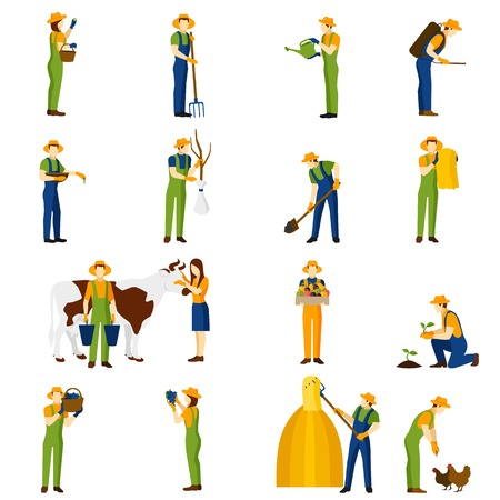 Farmer at work flat icons collection of orchard crops harvesting and raising livestock abstract isolated vector illustration
