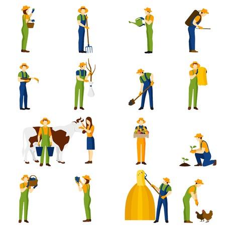 agricultor: Granjero en el trabajo plana Colecci�n de los iconos de los cultivos de huerta cosecha y aumentar abstracta de granja ilustraci�n vectorial aislado Vectores