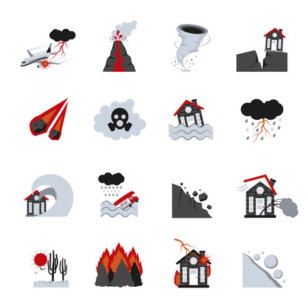 toxic: Different types of natural disasters flat icons set performed in black white and red colors isolated vector illustration Illustration