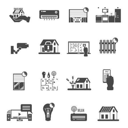 solar heating: Smart house black white icons set with video control electricity and climate control symbols flat isolated vector illustration