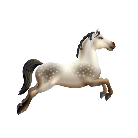 amusement park ride: Dapple grey toy carousel horse isolated on white background realistic vector illustration Illustration
