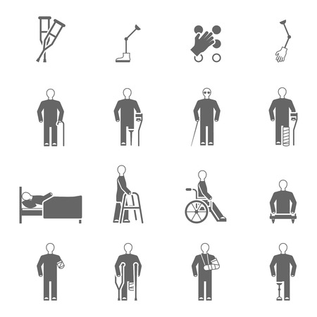 amputation: Disabled people black white icons set with damaged limbs prosthesis and canes symbols flat isolated vector illustration Illustration