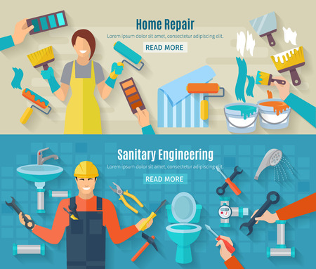 Home repair horizontal banner set with renovation and construction work elements isolated vector illustration