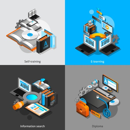 computer learning: E-learning design concept set with self training and graduation isometric icons isolated vector illustration