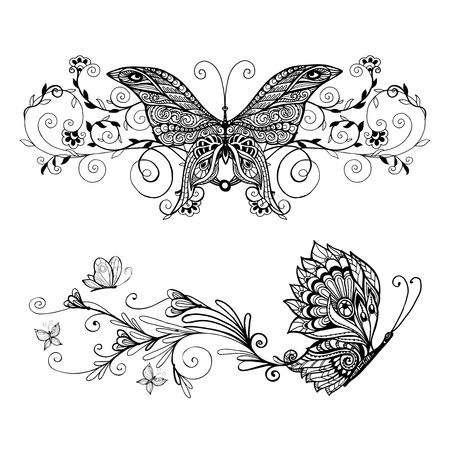 Decorative monochrome butterflies set with floral decoration isolated vector illustration Stock Illustratie