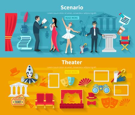 telon de teatro: Teatro banner horizontal conjunto con elementos planos de escenarios aislados ilustraci�n vectorial Vectores