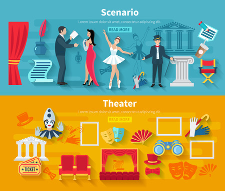 at the theater: Theater horizontal banner set with scenario flat elements isolated vector illustration Illustration